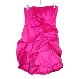 Windsor Strapless Ruffle Ruched Bright Pink Dress